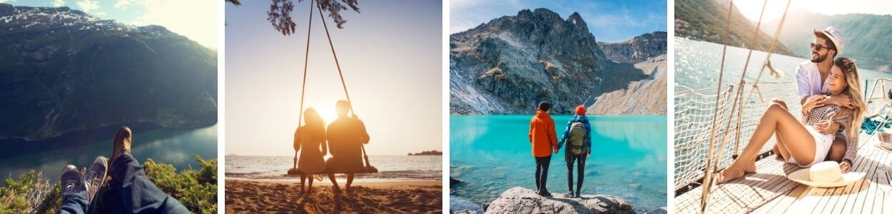 four images of couples on honeymoon, enjoying the beach, hiking, and sunset swing